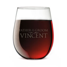 Personalized Stemless Wine Glass - Elegant Father Of The Groom Crest