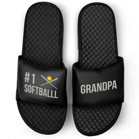 Softball Black Slide Sandals - #1 Softball Grandpa