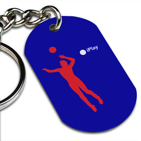 iPlay Volleyball Printed Dog Tag Keychain