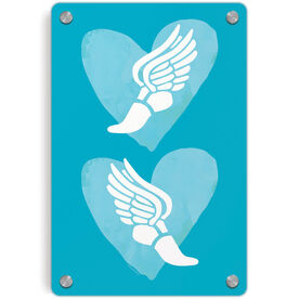 Track and Field Metal Wall Art Panel - Watercolor Heart Winged Foot