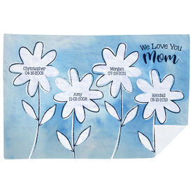 Personalized Premium Blanket - Love You Mom Birthdate Flowers