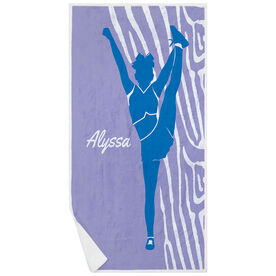 Cheerleading Premium Beach Towel - Girl with Zebra Stripes