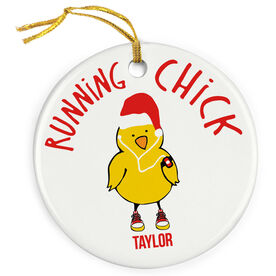 Running Porcelain Ornament Chick with Santa Hat