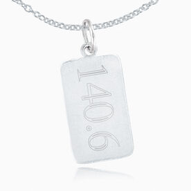 Sterling Silver 140.6 Rectangular Tag Charm Necklace