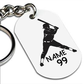 Softball Printed Dog Tag Keychain Personalized Softball Batter