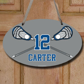 Lacrosse Oval Room Sign Personalized Lacrosse Crossed Sticks with Big Number