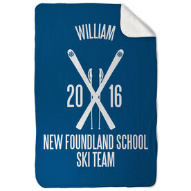 Skiing Sherpa Fleece Blanket Personalized Team