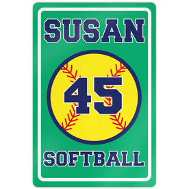 "Softball Aluminum Room Sign Personalized Softball (18"" X 12"")"