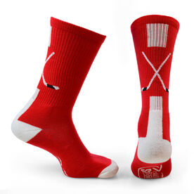 Hockey Woven Mid-Calf Socks - Sticks (Red/White/Black)