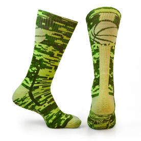 Basketball Woven Mid Calf Socks - Superelite (Camo Green)