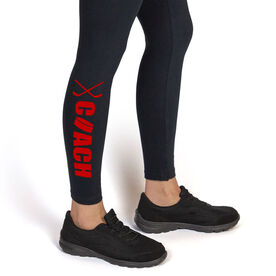 Hockey Leggings Coach with Puck and Sticks
