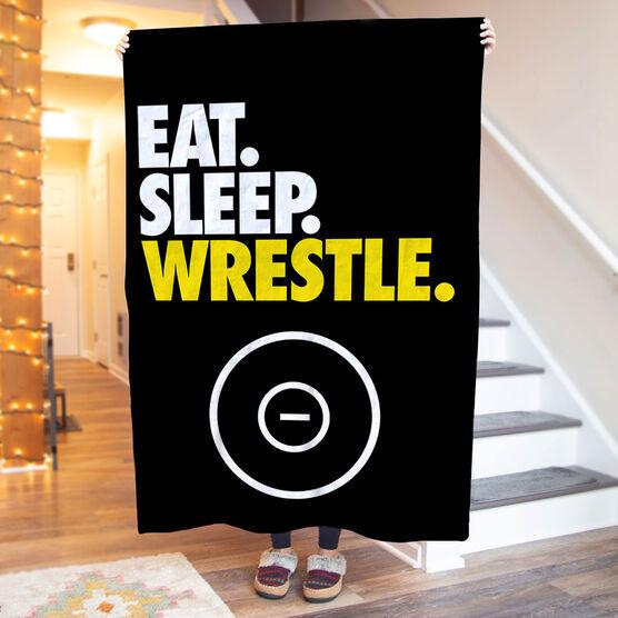 Wrestling Premium Blanket - Eat. Sleep. Wrestle. Vertical