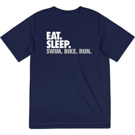 Triathlon Short Sleeve Performance Tee - Eat. Sleep. Swim. Bike. Run.