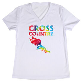 Women's Customized White Short Sleeve Tech Tee Cross Country Winged Foot