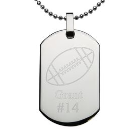 Football Engraved Stainless Steel Dog Tag Necklace