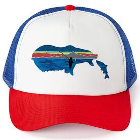 Fly Fishing Trucker Hat - Pond Fishing On Bear Lake