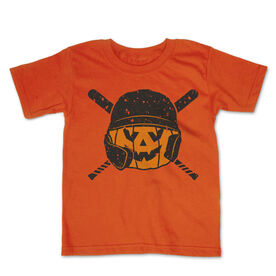 Baseball Toddler Short Sleeve Tee - Helmet Pumpkin