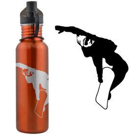 Snowboarding 24 oz Stainless Steel Water Bottle Snowboarder Silhouette
