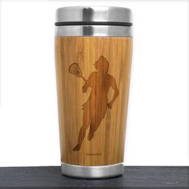 Bamboo Travel Tumbler Lacrosse Female Silhouette
