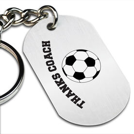 Thanks Coach Soccer Printed Dog Tag Keychain