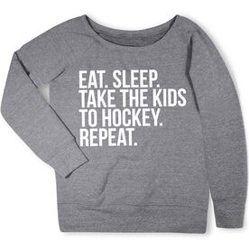 Hockey Fleece Wide Neck Sweatshirt - Eat Sleep Take The Kids To Hockey