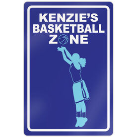 "Basketball Aluminum Room Sign Personalized Basketball Zone Girl (18"" X 12"")"