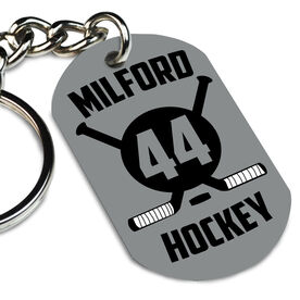 Hockey Printed Dog Tag Keychain Personalized Crossed Sticks and Numbers