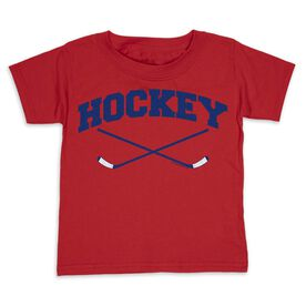 Hockey Toddler Short Sleeve Tee - Hockey Crossed Sticks Logo