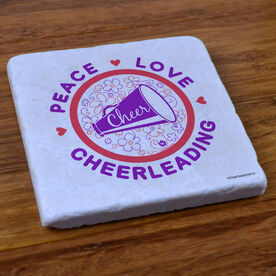 Peace Love Cheerleading (Flowers) - Stone Coaster
