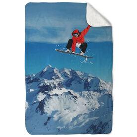 Snowboarding Sherpa Fleece Blanket - Airborne Landscape