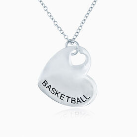 Sport Heart - BASKETBALL Silver Necklace