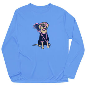 Girls Lacrosse Long Sleeve Performance Tee - Lily The Lacrosse Dog