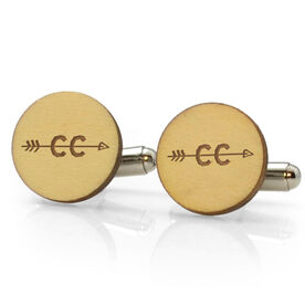 Track and Field Engraved Wood Cufflinks CC Arrow