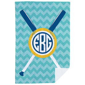 Softball Premium Blanket - Monogrammed with Crossed Bats and Chevron