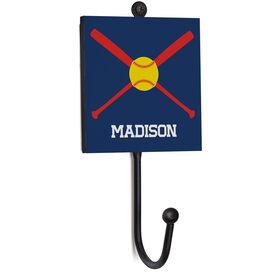 Softball Medal Hook - Softball Crossed Bats With Name