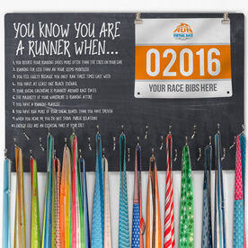 Running Large Hooked on Medals and Bib Hanger - Chalkboard You Know You're A Runner When