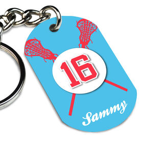 Girls Lacrosse Printed Dog Tag Keychain Personalized Crossed Lacrosse Sticks