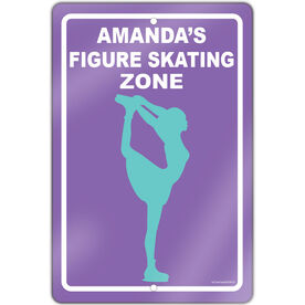 """Figure Skating 18"""" X 12"""" Aluminum Room Sign Personalized Figure Skating Zone"""