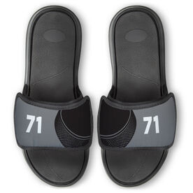 Hockey Repwell™ Slide Sandals - Puck and Number Reflected