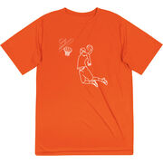 Basketball Short Sleeve Performance Tee - Basketball Player Sketch