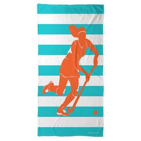 Field Hockey Beach Towel Stripes with Girl Silhouette