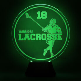 Guys Lacrosse Acrylic LED Lamp Round Defenseman With Name and Number