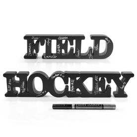 Field Hockey Wood Words Ready For Team To Autograph