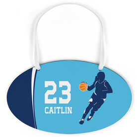 Basketball Oval Sign - Personalized Basketball Girl with Big Number