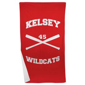 Softball Beach Towel Personalized Crossed Bats