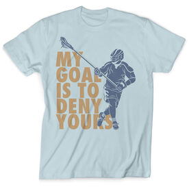 Guys Lacrosse Vintage T-Shirt - My Goal Is To Deny Yours Defenseman
