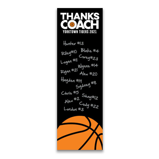"""Basketball 12.5"""" X 4"""" Removable Wall Tile - Thanks Coach (Autograph) Vertical"""
