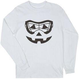 Girls Lacrosse Long Sleeve Tee - Lacrosse Goggle Pumpkin Face