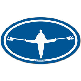 Crew Boat Oval Car Magnet (Blue)