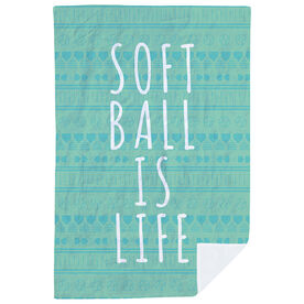 Softball Premium Blanket - Softball Is Life Aztec